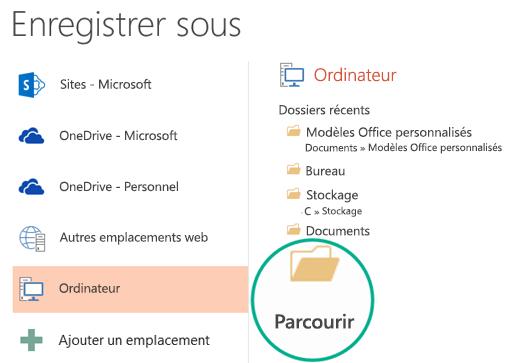 Cliquez sur le bouton Parcourir situé en bas du volet pour ouvrir la boîte de dialogue Enregistrer sous