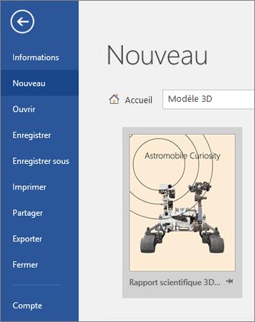 Affichage d'exemple de modèle 3D sous Fichier > Nouveau