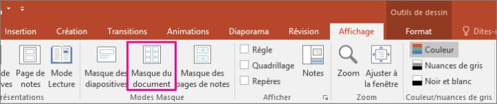Mode Masque du document dans PowerPoint