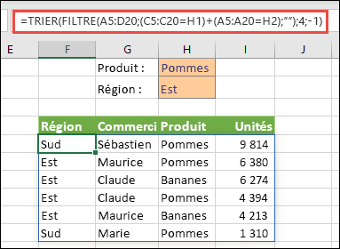 Fonctions FILTRE et TRIER utilisées ensemble - Filtrer sur le produit (Pomme) OU la région (Est)
