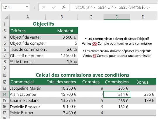 Exemple d'utilisation des fonctions SI et OU pour calculer une commission de ventes.