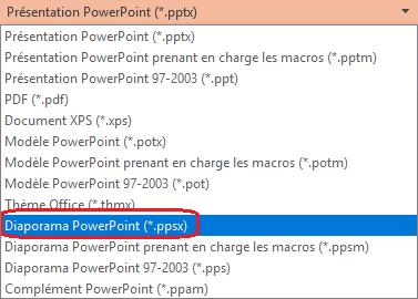 La liste des types de fichiers PowerPoint inclut « PowerPoint Show (.ppsx) ».