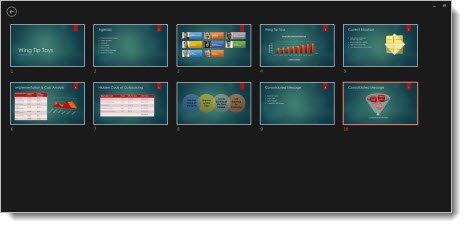 Grille avec les images miniatures de toutes les diapositives de la présentation.