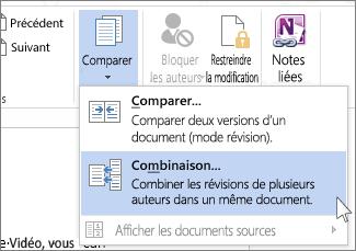 Commande Combiner du menu Comparer