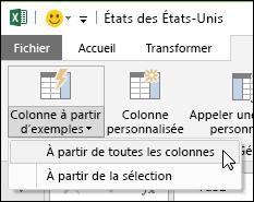Power Query – colonne combinée à partir d'un exemple – option de l'onglet Ajouter une colonne