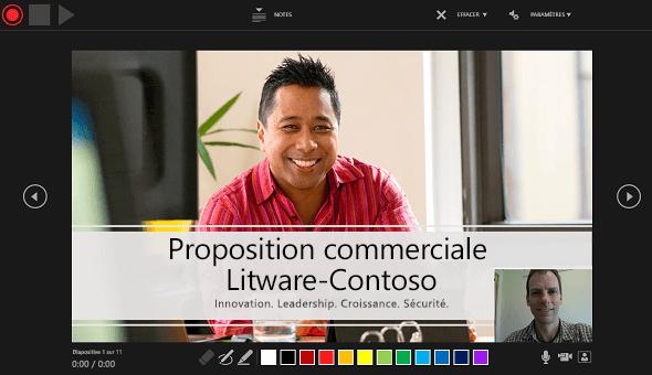 La fenêtre Enregistrement de la présentation de PowerPoint2016, avec aperçu de la fenêtre de narration vidéo activé.