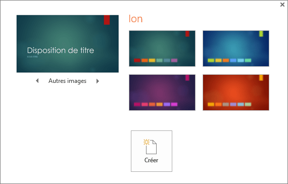 Affiche les options de variation de couleur de thème dans PowerPoint