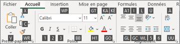 Touches d'conseil sur les touches du ruban Excel
