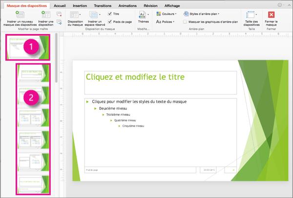 Diapositive principale et mises en page
