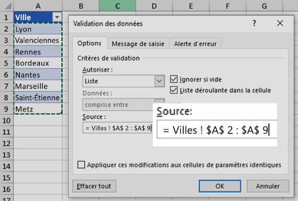 Options de la liste de validation des données