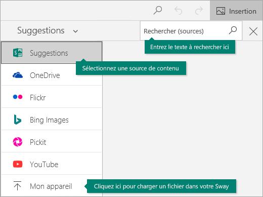 Commande d'insertion et zone de recherche de contenu
