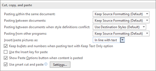 Options de copie et de collage dans Word