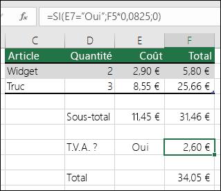 """La formule dans la cellule F7 est SI(E7=""""Oui"""";F5*0,0825;0)"""