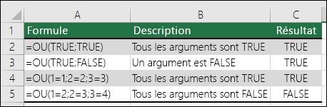 Exemples d'utilisation de la fonction OU.