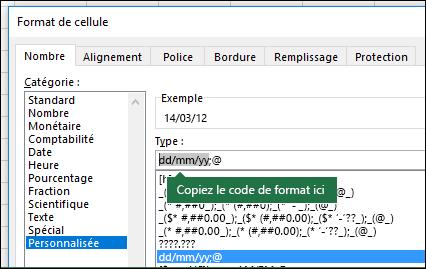 Exemple d'utilisation de la boîte de dialogue Format > Cellules > Nombre > Personnalisée pour qu'Excel crée des chaînes de format automatiquement.