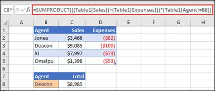 Exemple de la fonction SOMMEPROD permettant de renvoyer le total des ventes par le représentant commercial, en cas de ventes et de frais pour chacun d'eux.
