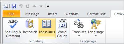 Mencari Kata Di Tesaurus Dukungan Office