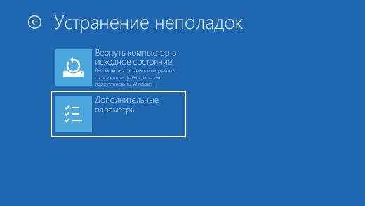 Depanarea ecranului în mediul de recuperare Windows.