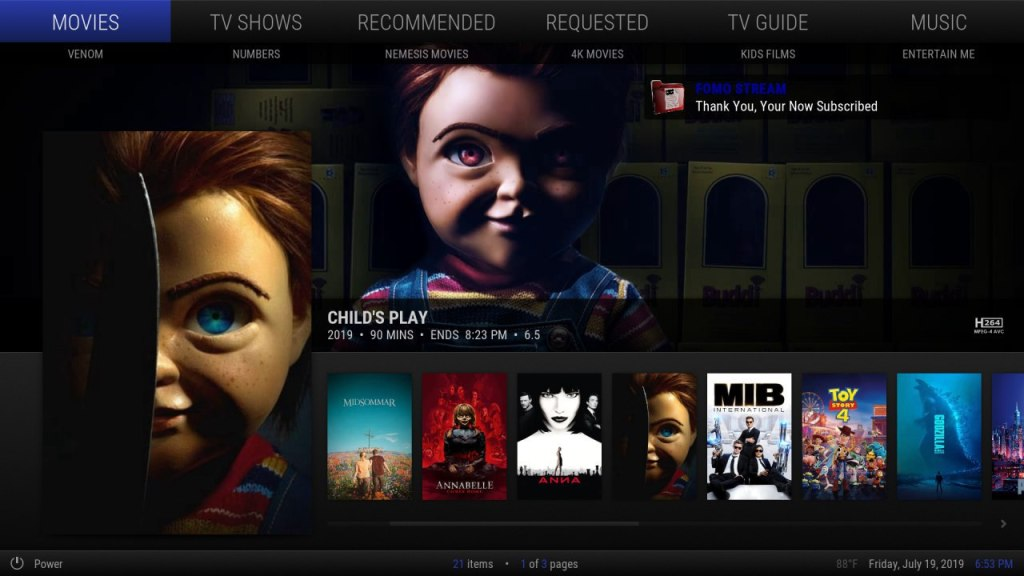FOMOstream® Setup - Movies - Build 1.2