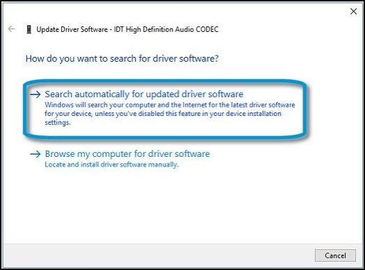 Search automatically for updated driver software in Device Manager