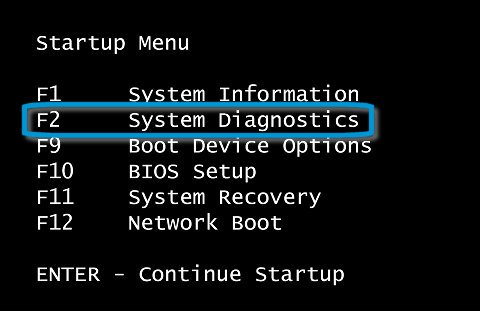 Startup Menu with F2 System Diagnostics selected