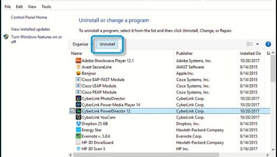 Uninstall programs you don't need to free up space.