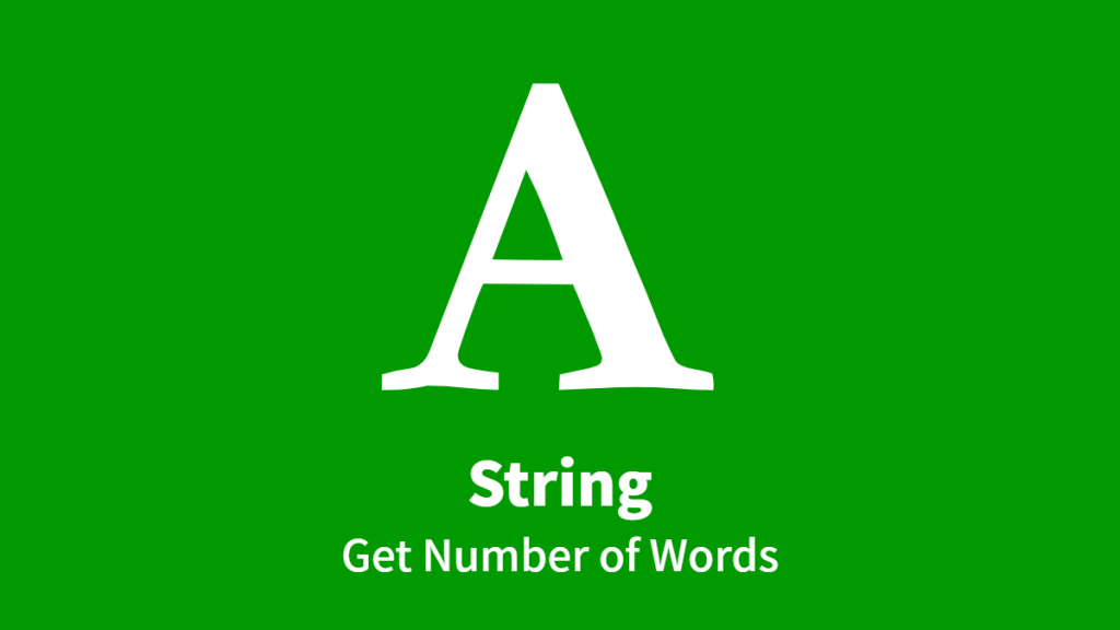 String, Get Number of Words