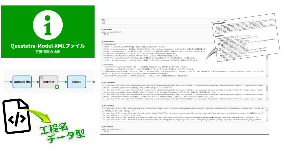 ワークフローアプリの工程名とデータ項目名(変数名)を抽出します。Model-XML ファイルがパースされ、ヒューマン工程なのか自動工程なのか、データ型は何か、などの情報が抽出されます。
