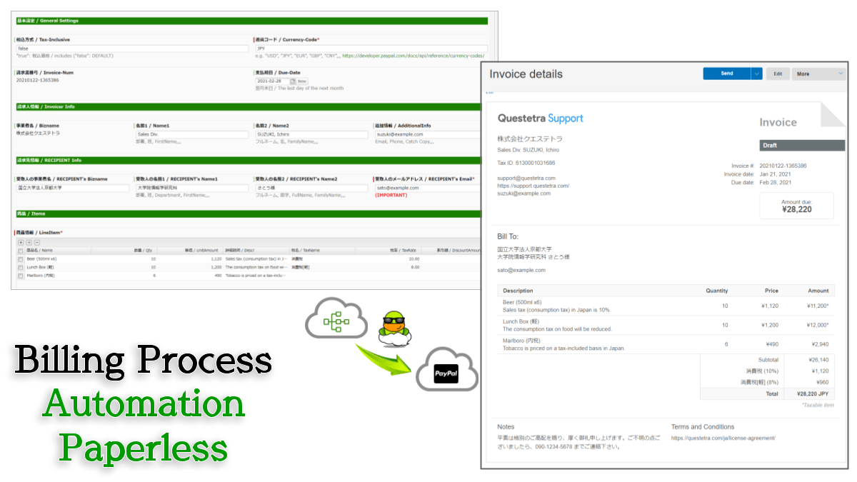 An invoice will be automatically generated when a process reaches this step in the workflow.