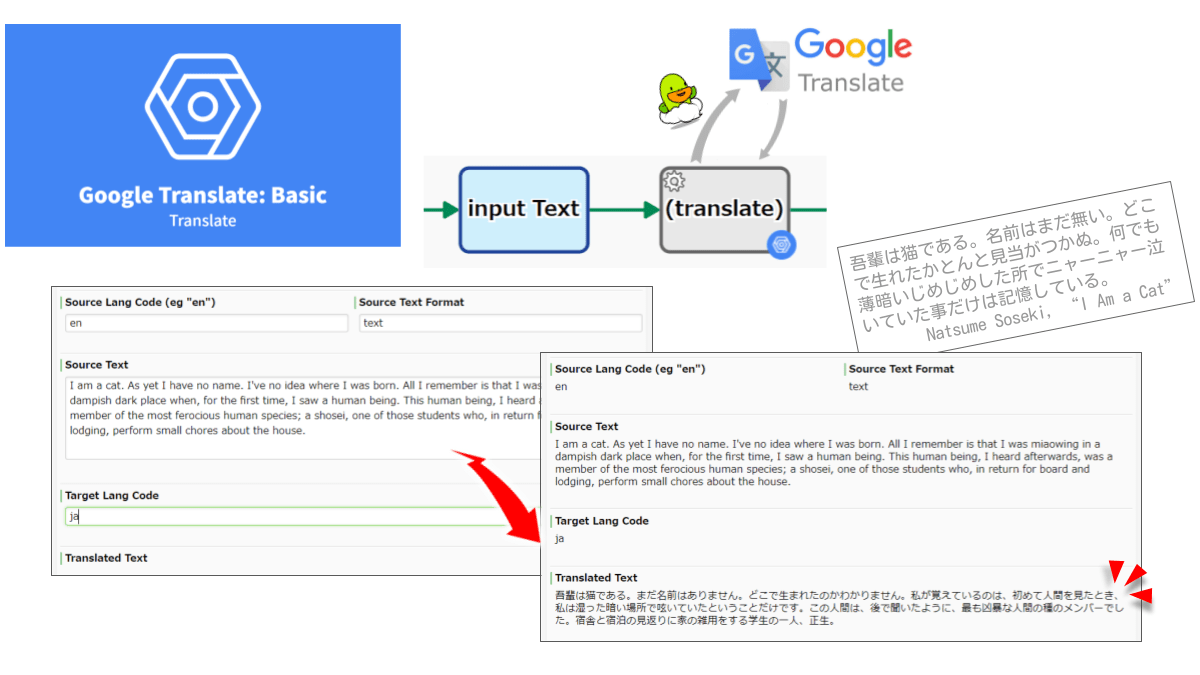 Translates using Google Translation API v2. Specifying the target language is mandatory, but specifying the source language is optional (Detected). The NMT model is applied, but in some languages the PBMT model is applied.