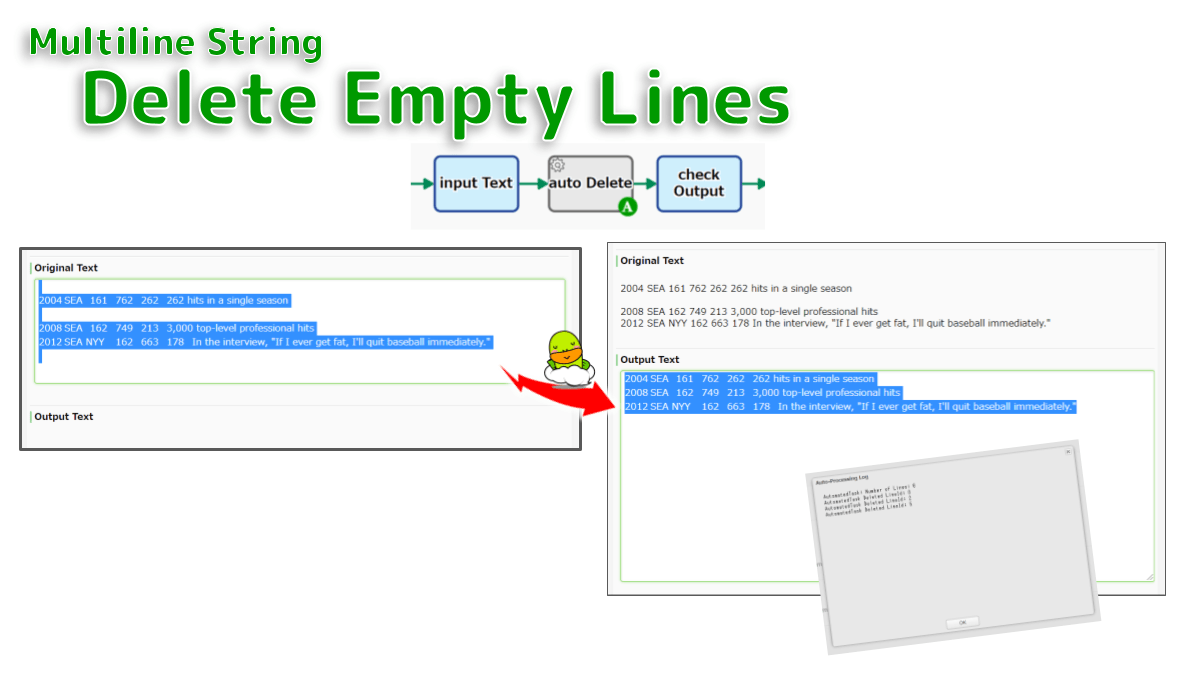 Removes all blank rows. Line breaks at the end of the text (including TSV and CSV) are also removed. If there is even one single-byte space on the line, it will not be deleted.
