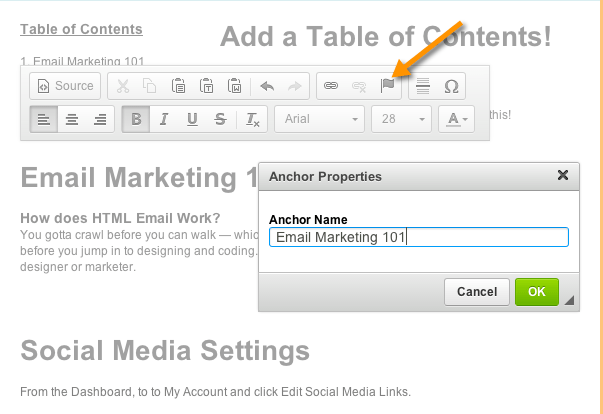 How Do I Create a Table of Contents Using Anchor Links