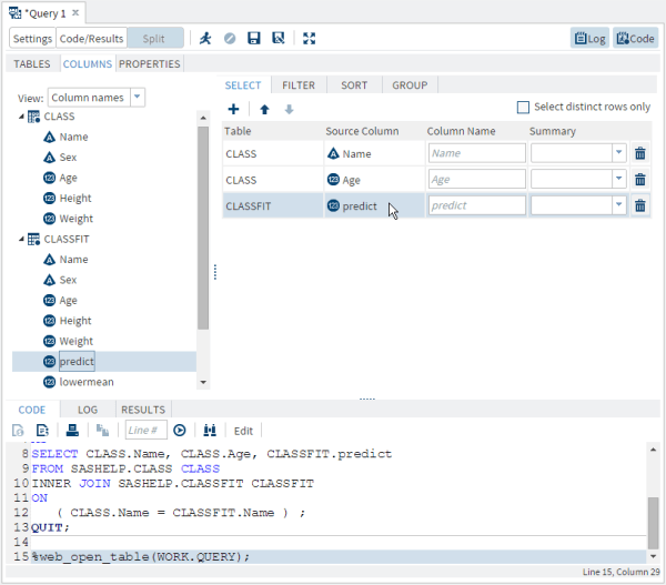 Selecting Data :: SAS(R) Studio 3.3: User's Guide