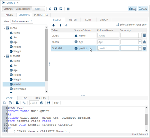 Selecting Data :: SAS(R) Studio 3.4: User's Guide