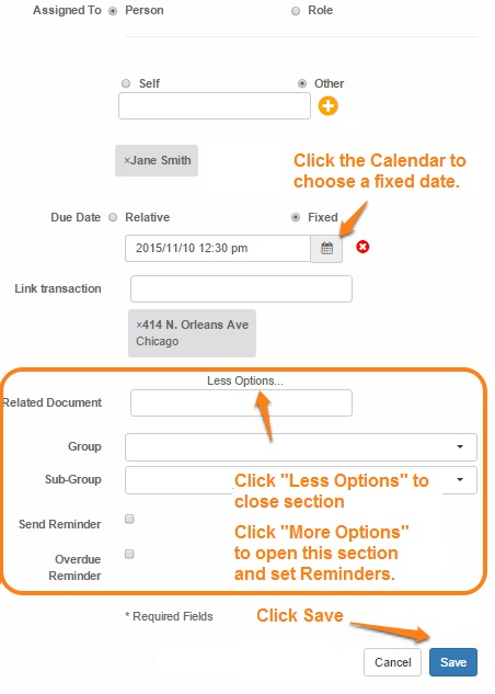 Tasks - fixed date -click options