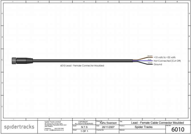 power lead  wiring diagram compatible with spider 1 to