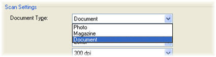 Figure shows document selected from document type list. Other choices are Photo or Magazine