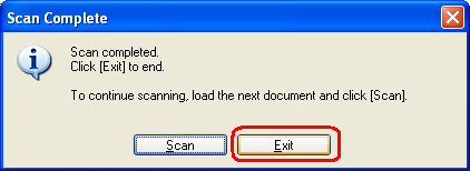 Scan completed select Exit to quit the program
