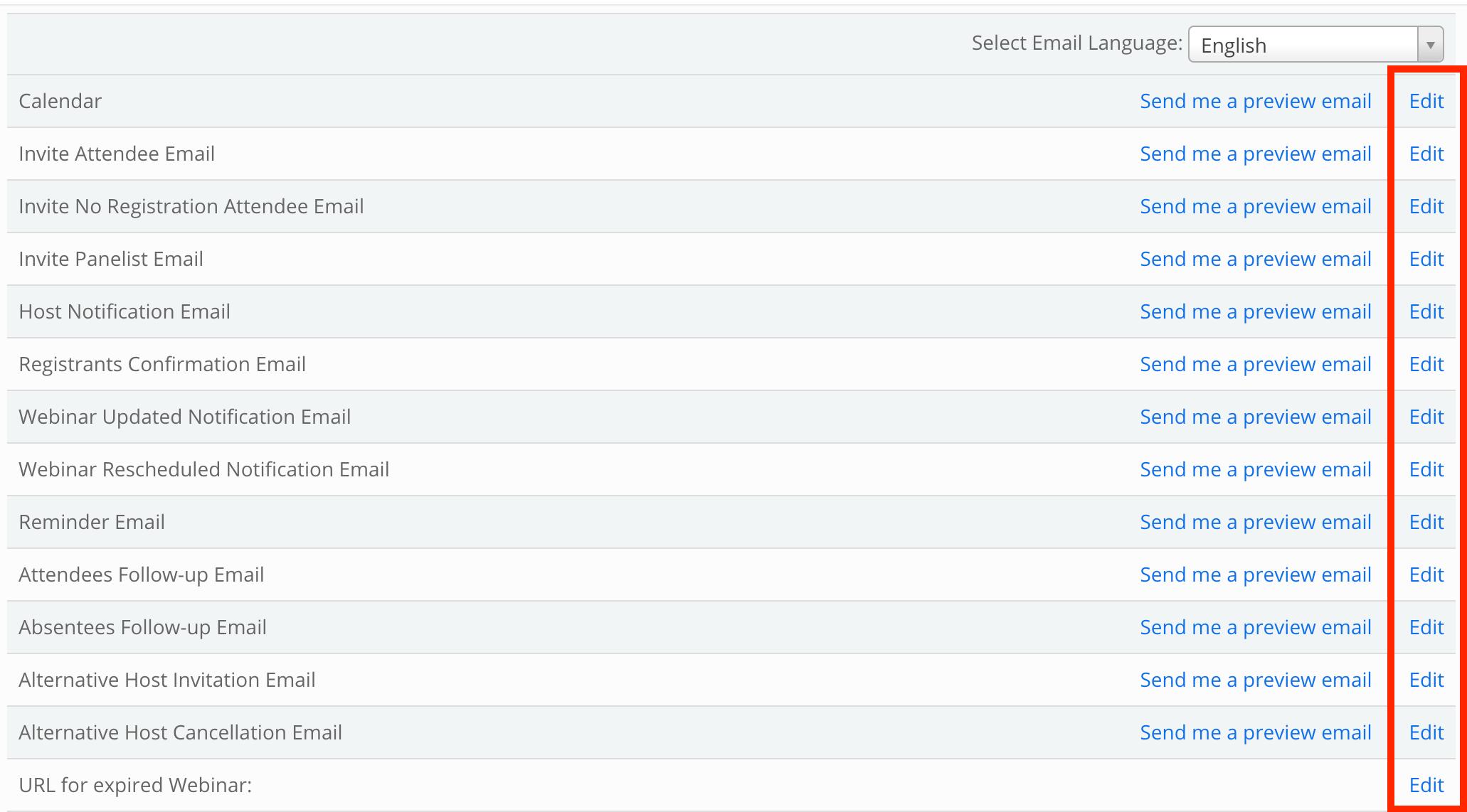 customizing webinar email settings