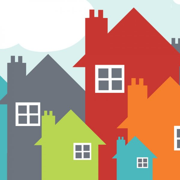 5 colourful houses of varying sizes