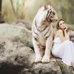woman with a tiger