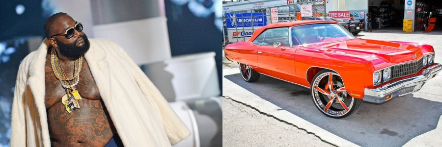 rick ross and his classic car in red