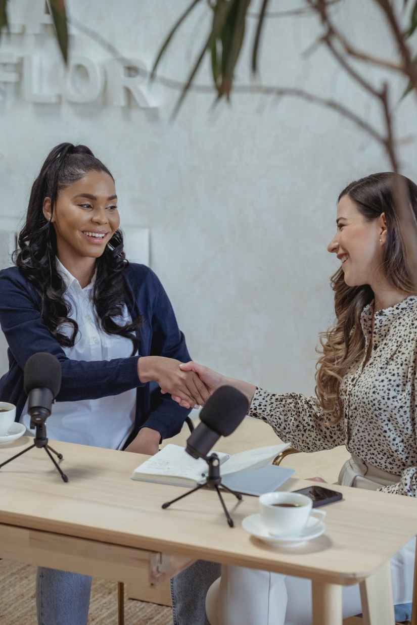 diverse female partners greeting each other with handshake