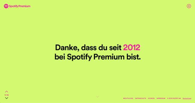 Seit 2012 Spotify Premium Kunde - Danksagung