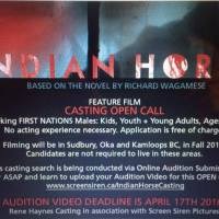 Indian Horse is going to be made into a movie and they're looking for First Nations talent!