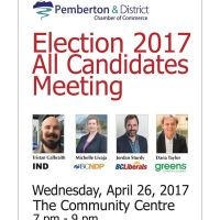 All Candidates Meeting for the BC election, at the Community Centre, Wed April 26, 7pm - 9pm