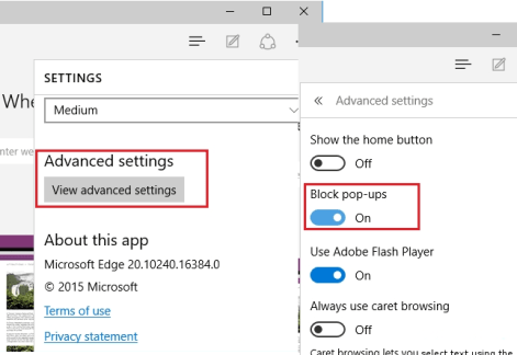 Ms Edge Block Pop-ups