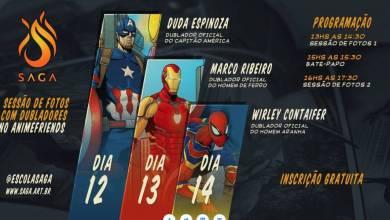 Foto de SAGA estará no Anime Friends com dubladores do Capitão América, Homem de Ferro e Homem-Aranha