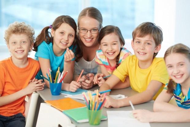 Classmates and teacher