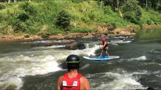 Stand Up Paddling River Adventure in Sri Lanka. SUP Rapids
